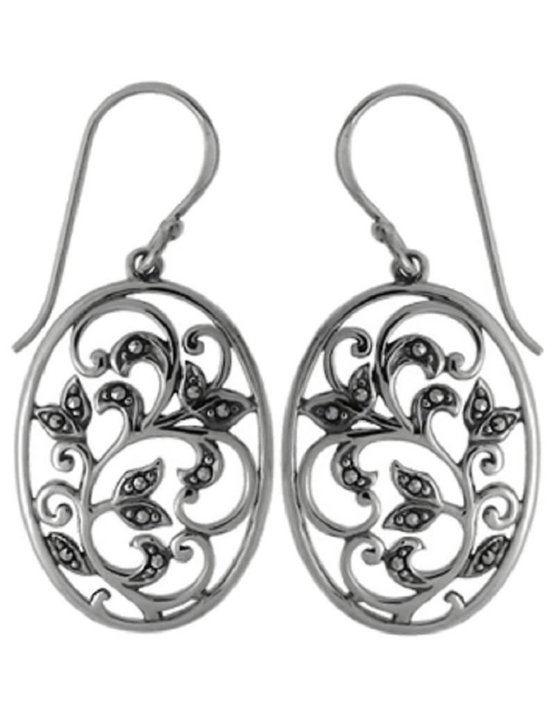 Oval Vine Marcasite Earrings 23mm