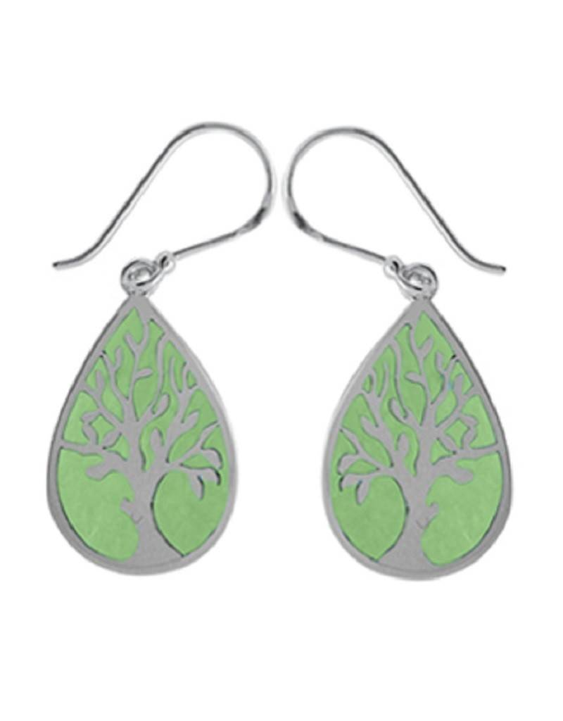 Green Tree Earrings 22mm