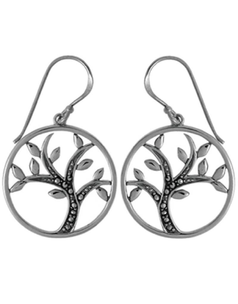 Tree Marcasite Earrings 21mm