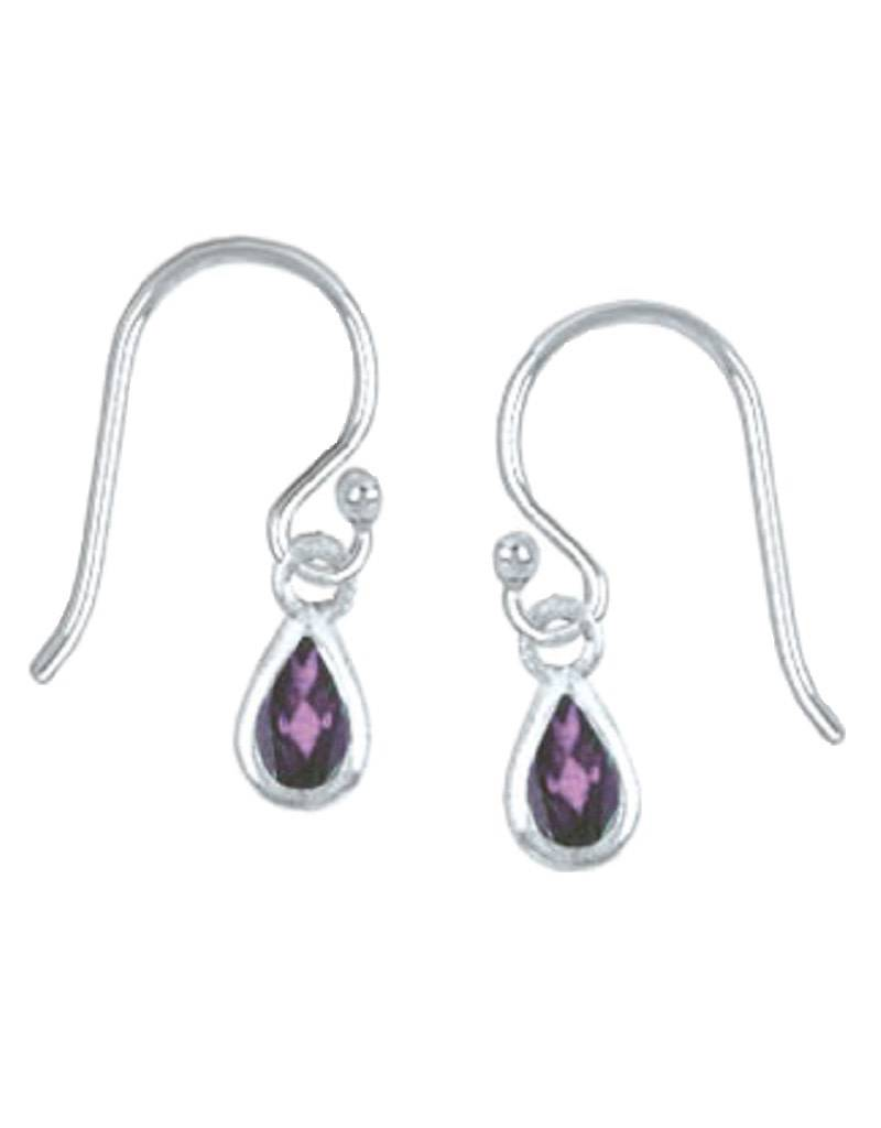 Teardrop Amethyst Earrings 5mm