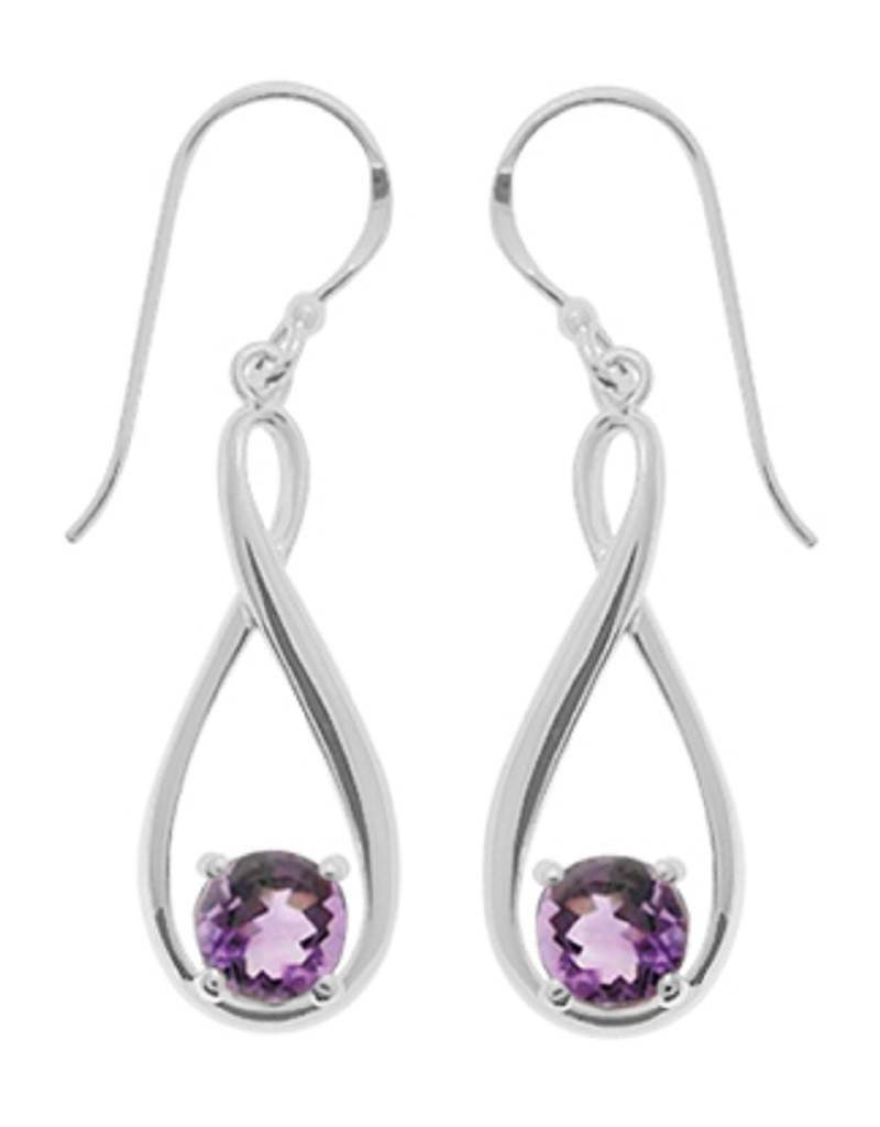 Round Amethyst Earrings 24mm