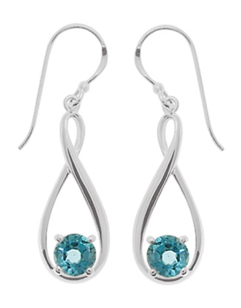 Round Blue Topaz Earrings 24mm