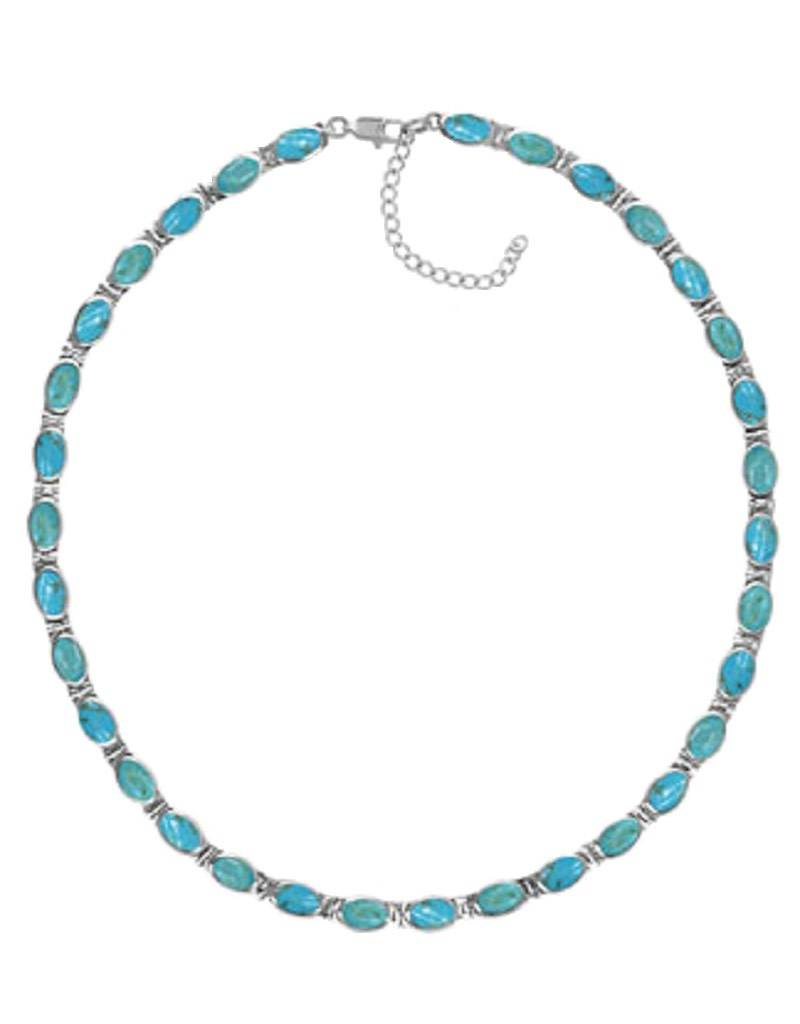 "Oval Turquoise Necklace 16""+2"""