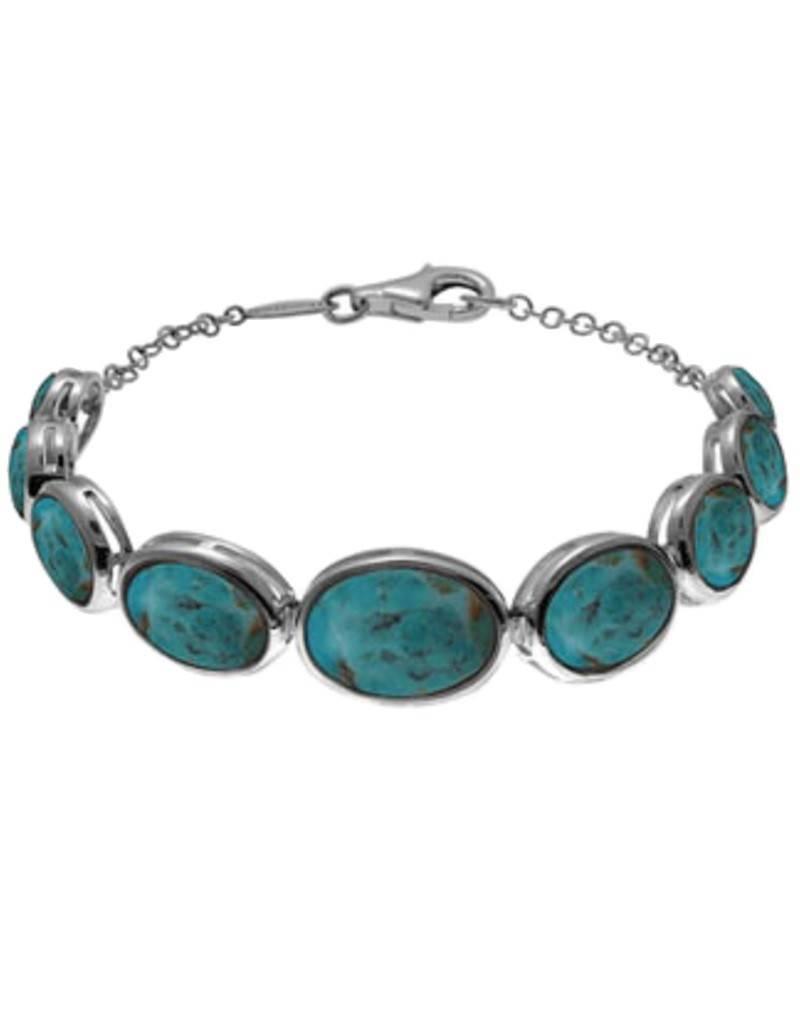"Oval Turquoise Bracelet 7.5"""