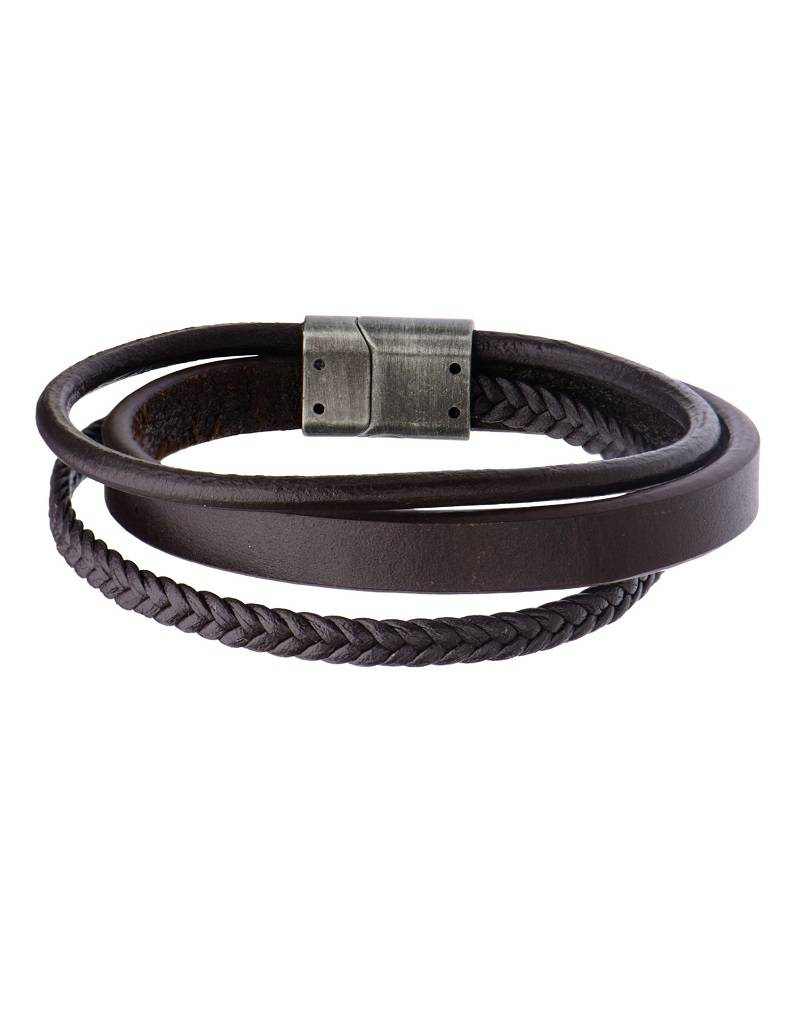 Multi Strand Brown Leather Bracelet 8.75""