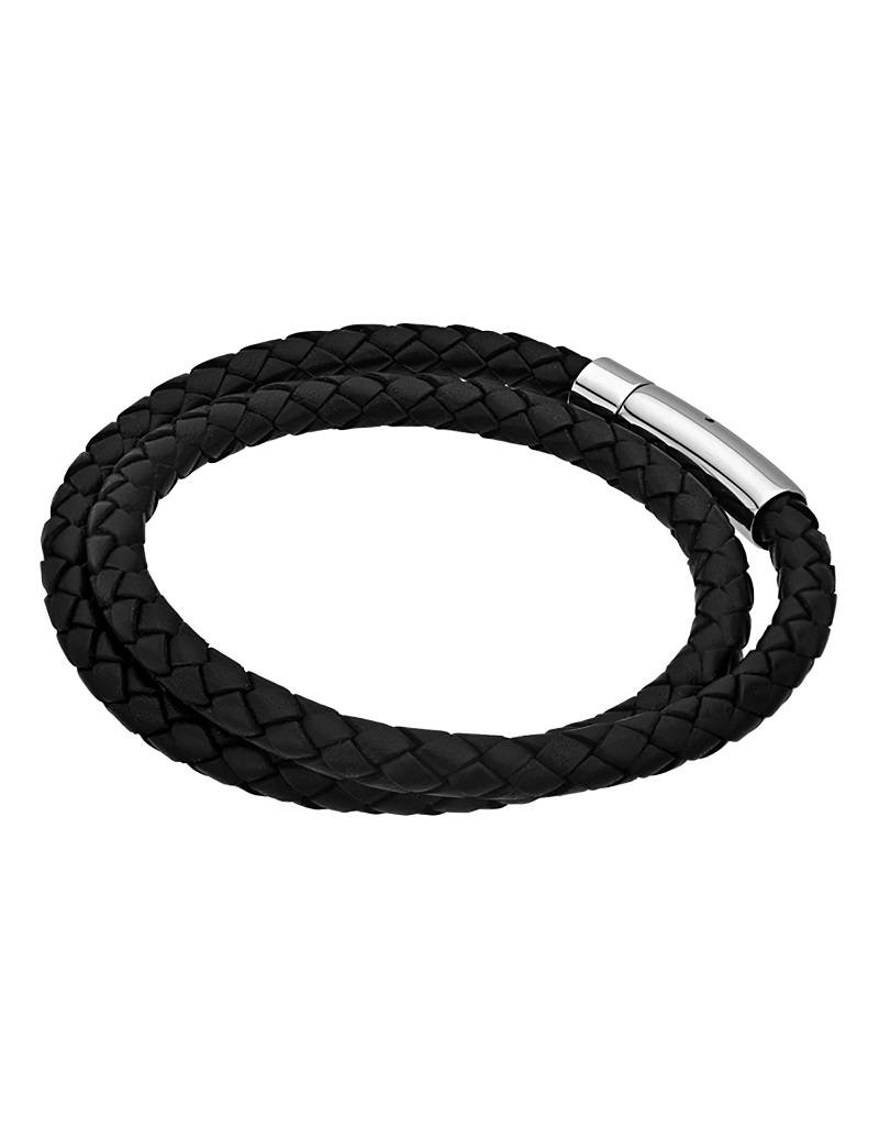 Double Black Leather Bracelet 8""