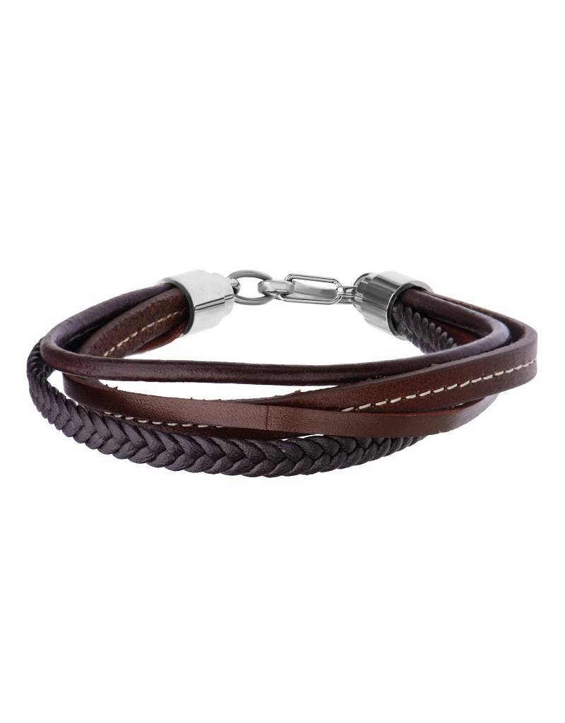 Multi Brown Leather Bracelet  8.5""