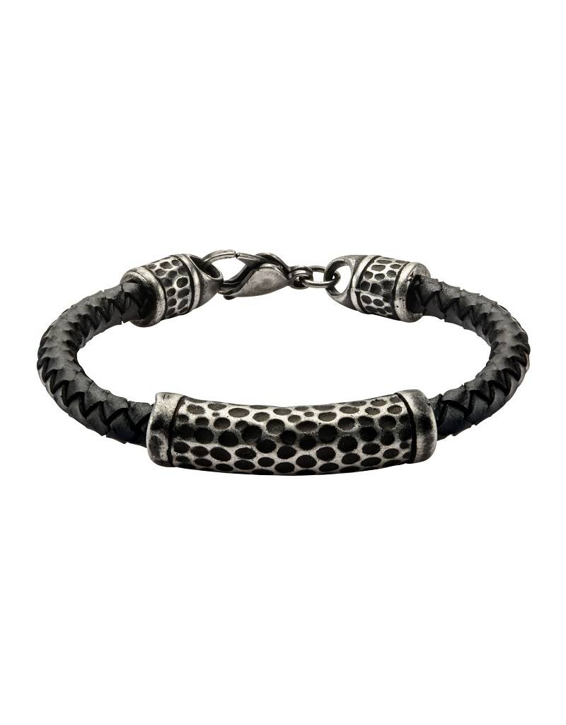 Hammered Steel Leather Bracelet