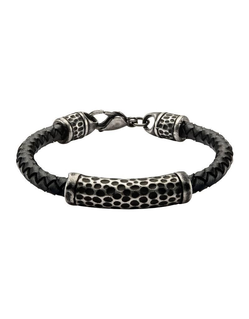 Hammered Steel Leather Bracelet