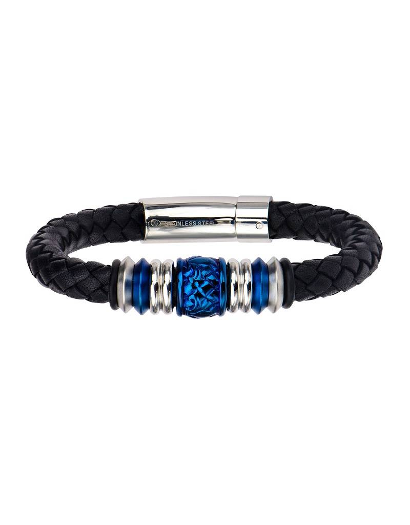 Black Leather Blue Bead Bracelet 8.5""