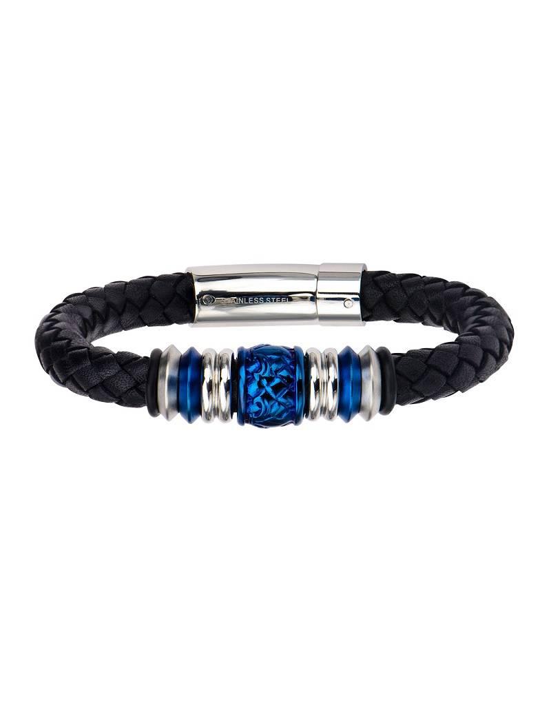 "Black Leather Blue Bead Bracelet 8.5"""