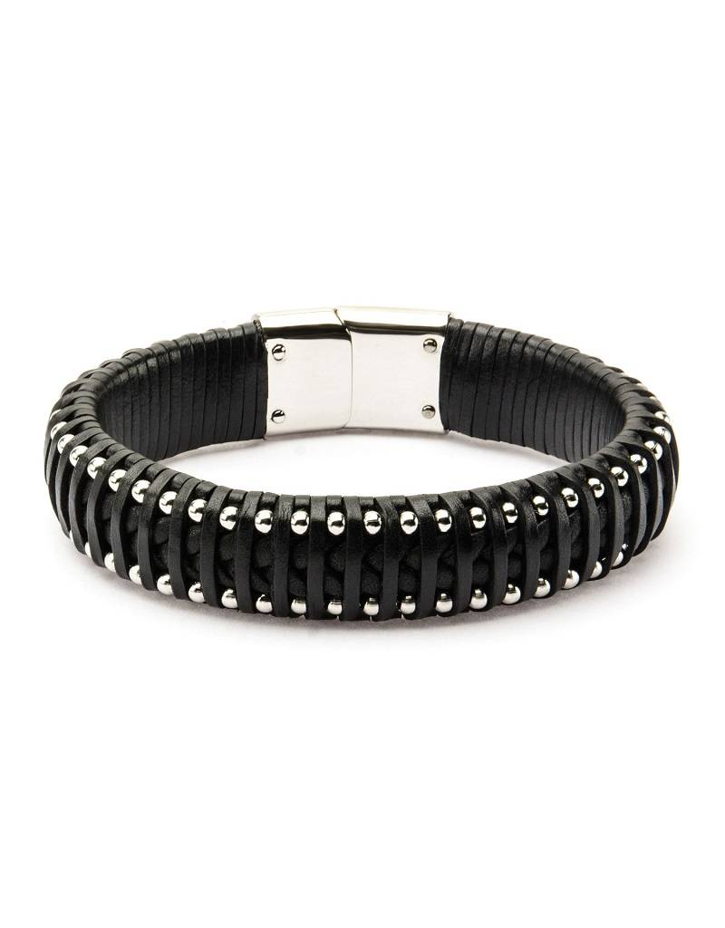 Woven Black Leather & Steel Bracelet