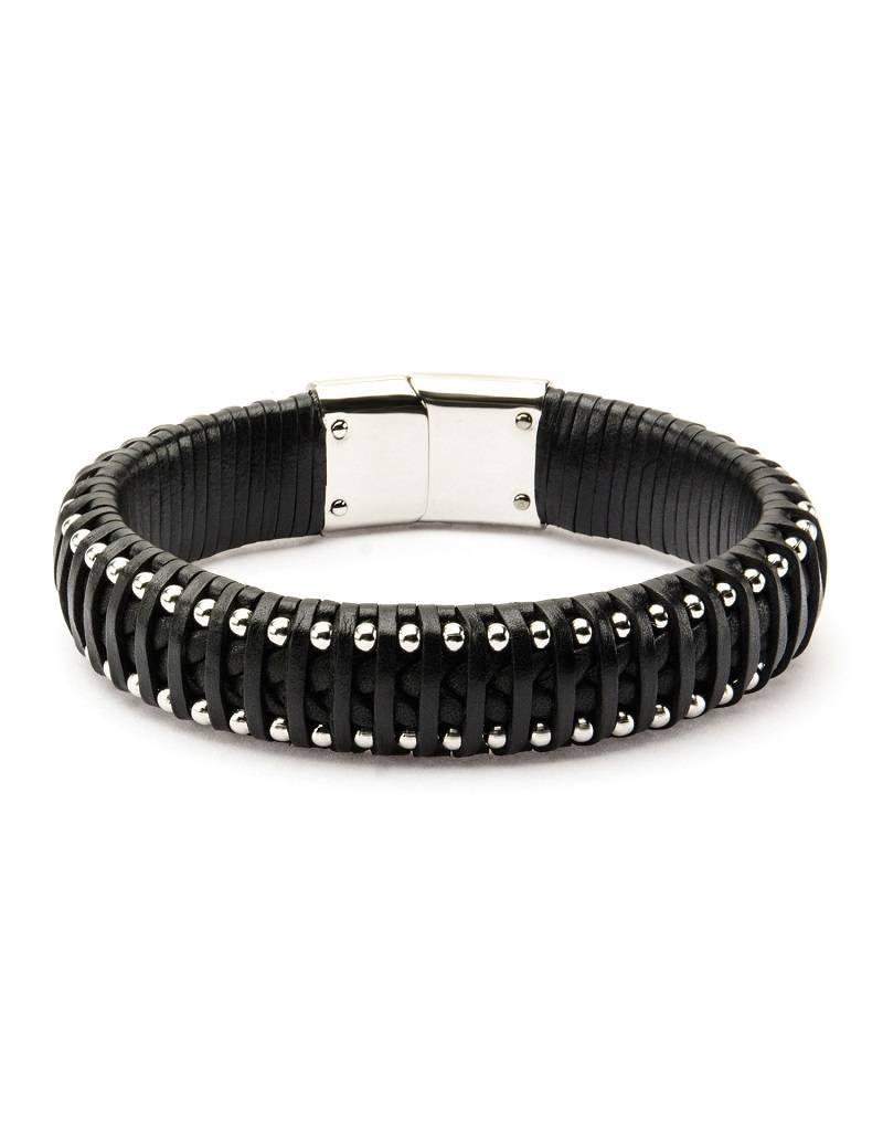 Woven Black Leather & Steel Bracelet