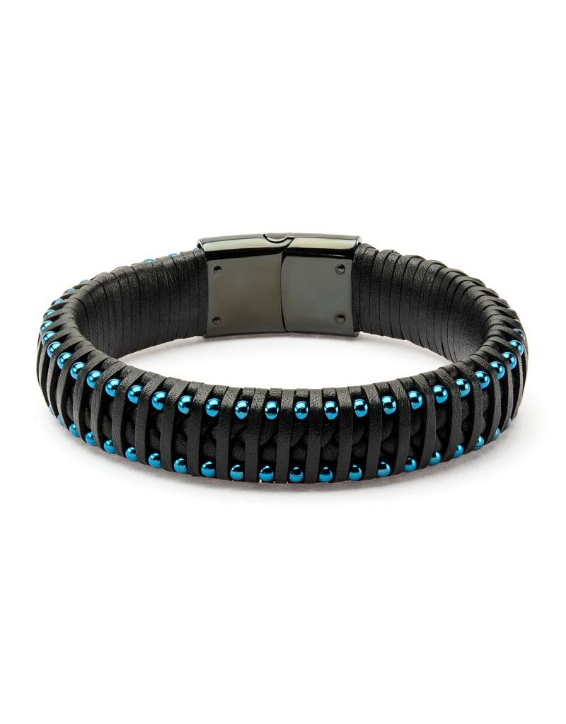 Black Leather & Blue Steel Bracelet