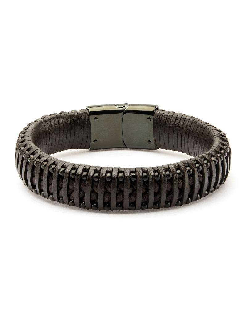 Brown Leather & Black Steel Bracelet