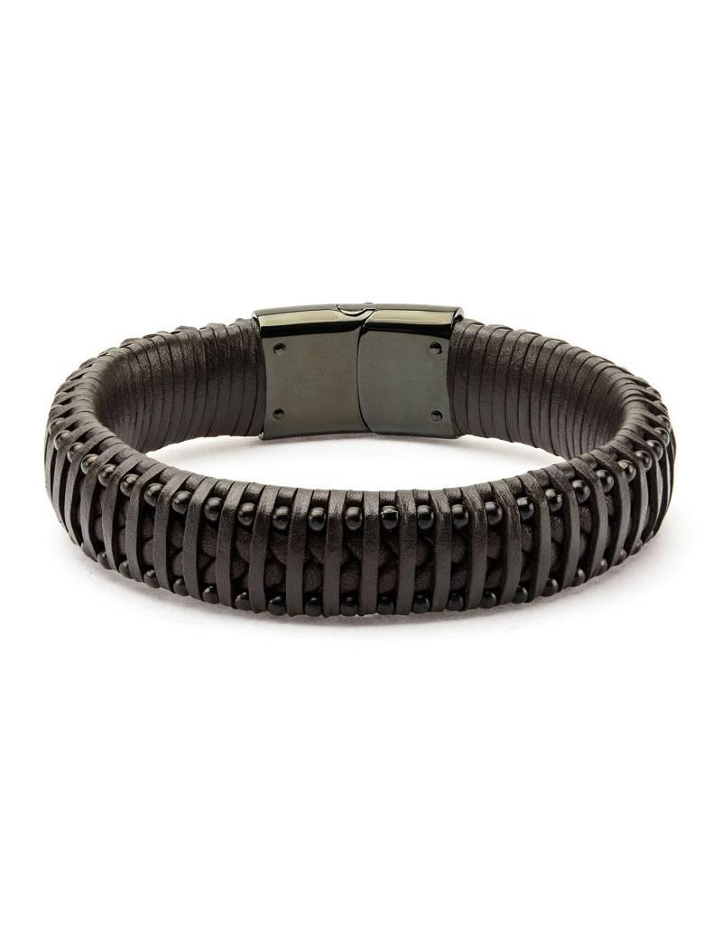 Brown Leather & Black Steel Bracelet