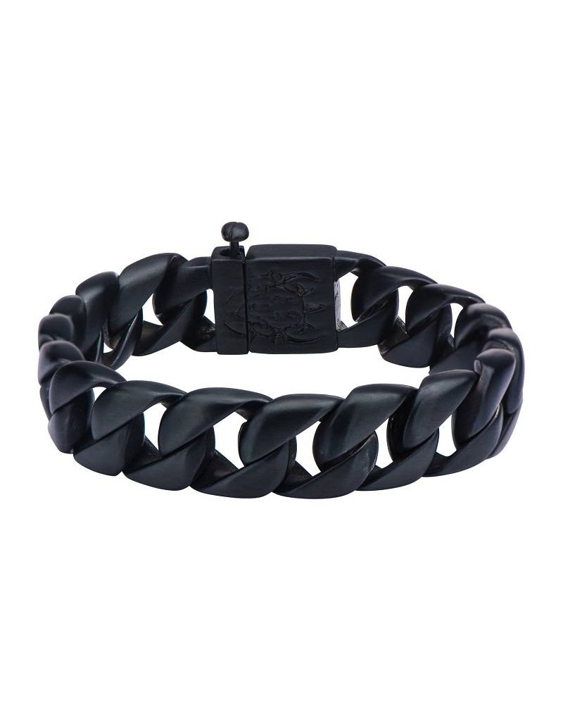 """15mm Black Curb Bracelet 8.5"""""""