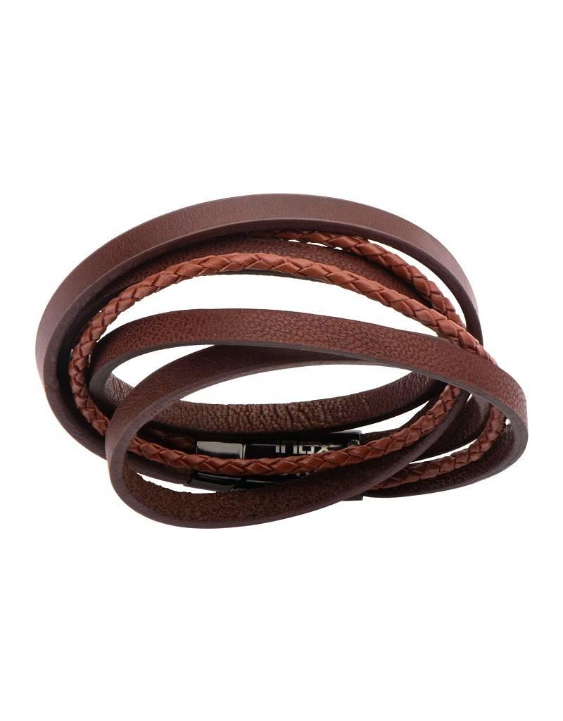 "Brown Leather Wrap Bracelet 8.5"""