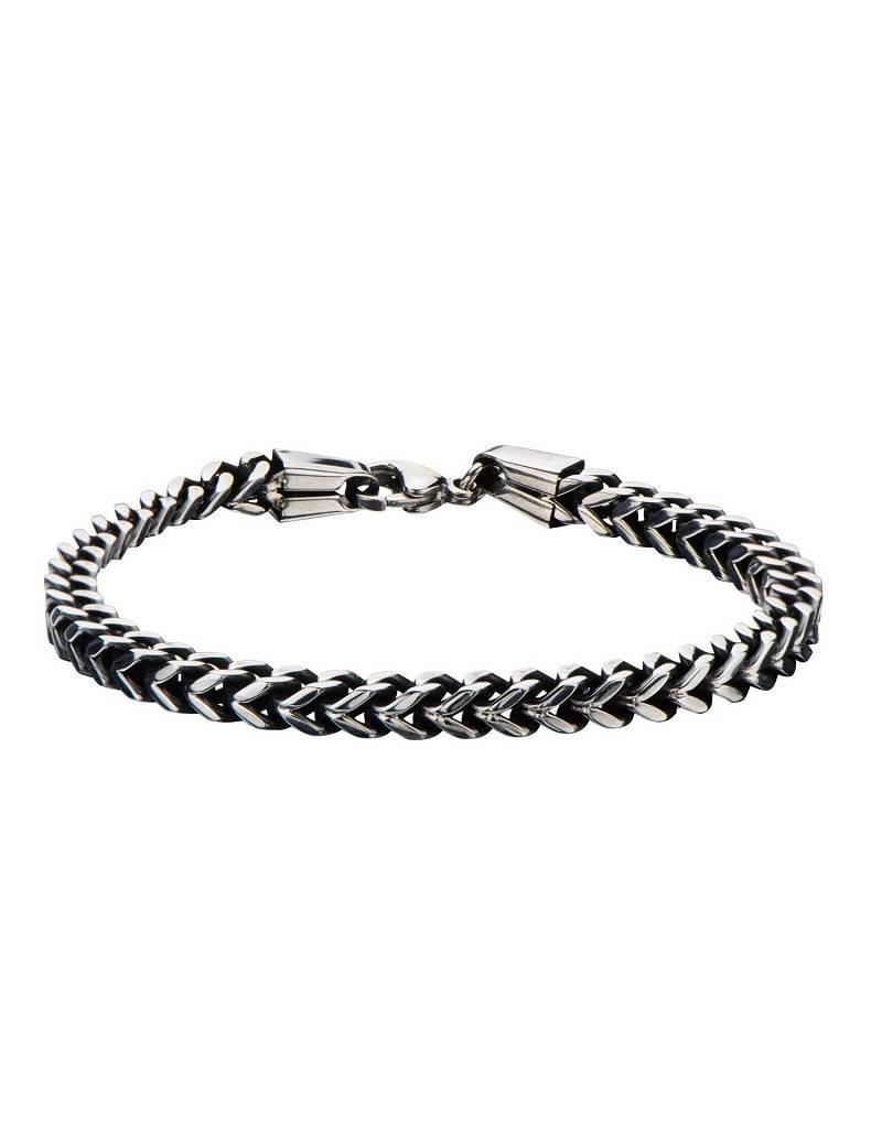 """Oxidized Franco Chain Bracelet 8.5"""""""