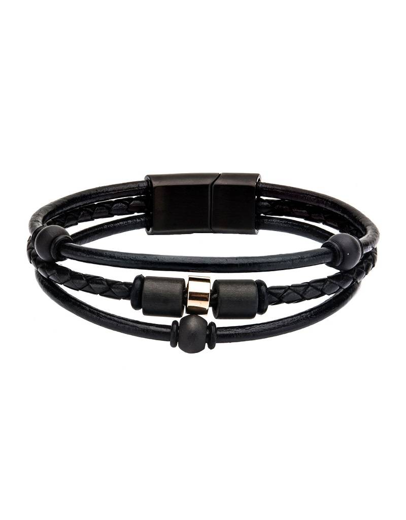 "Graphite Bead Leather Bracelet 8.25"""