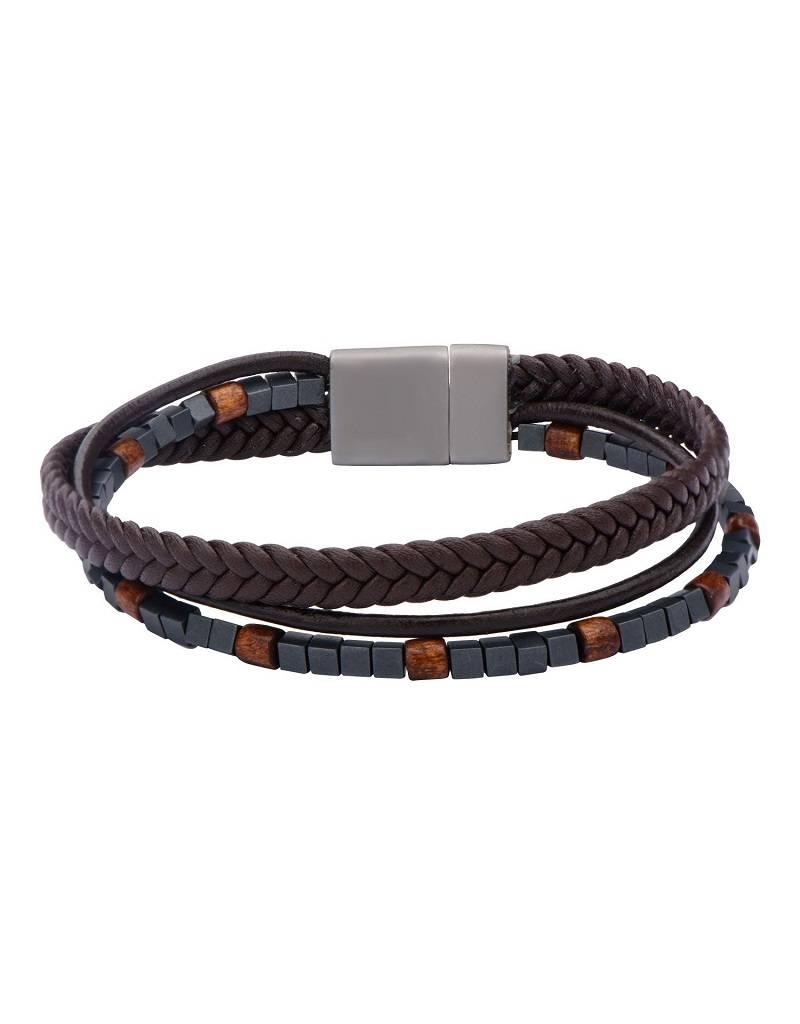 "Braided Brown Leather Bracelet 8.5"""