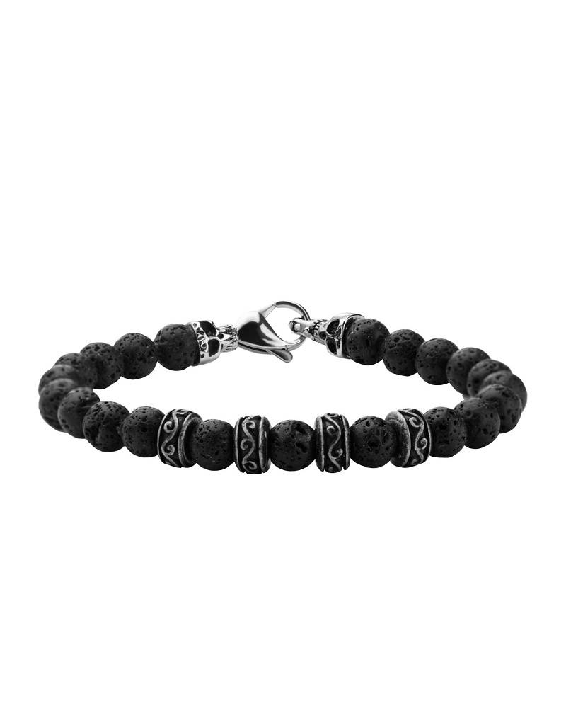 Skull Black Lava Bead Bracelet