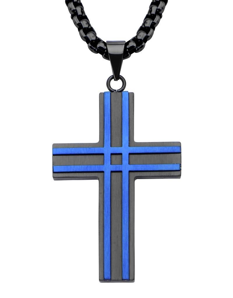 Black & Blue Steel Cross Pendant 49mm