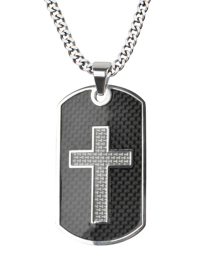 Steel Cross ID Tag Necklace