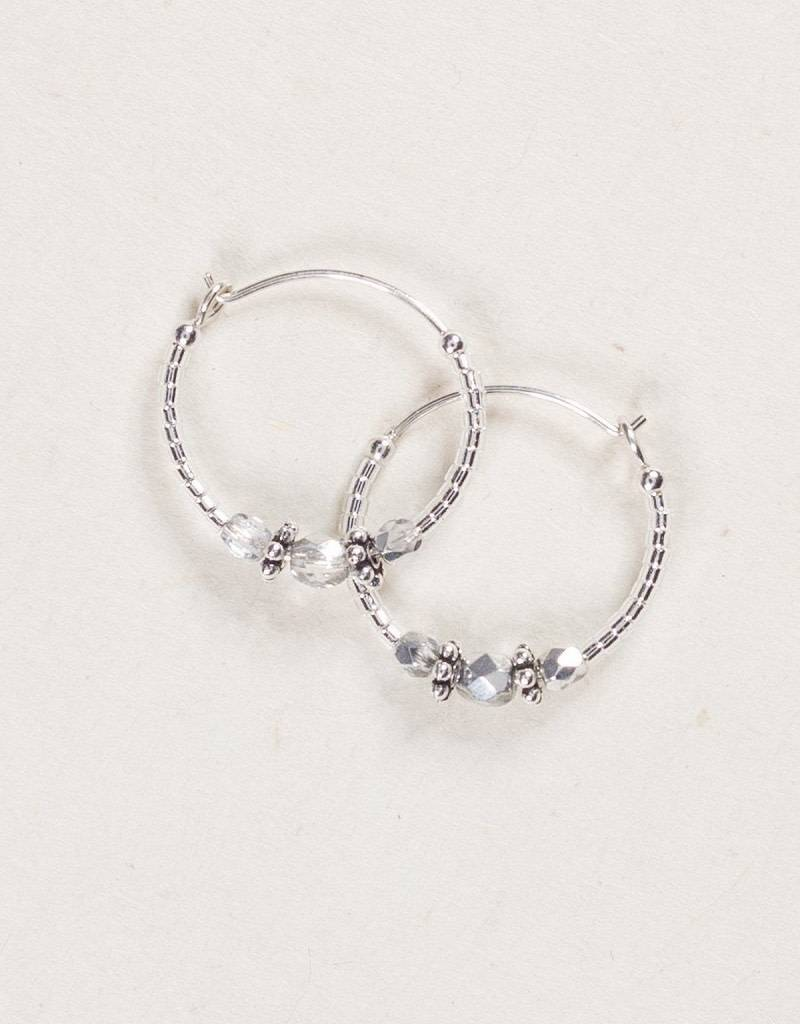 HOLLY YASHI Silver Sonoma Bead Hoop Earrings *9523
