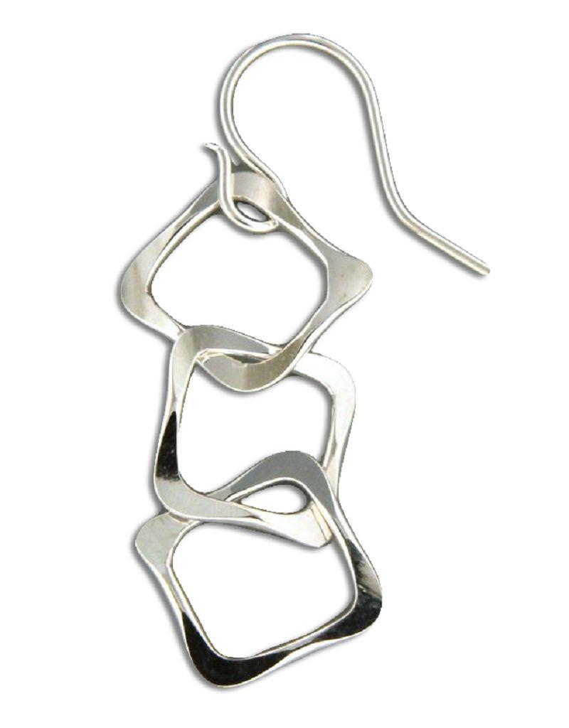 Sterling Silver 3 Square Link Earrings 32mm