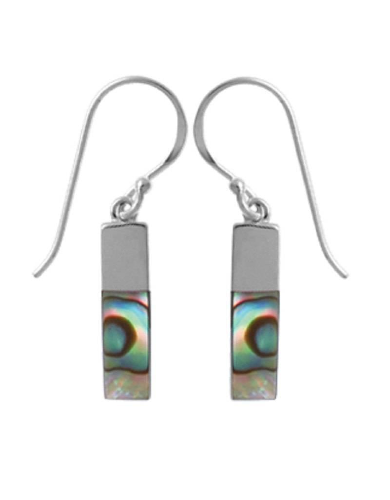 Sterling Silver Rectangle Abalone Earrings 15mm