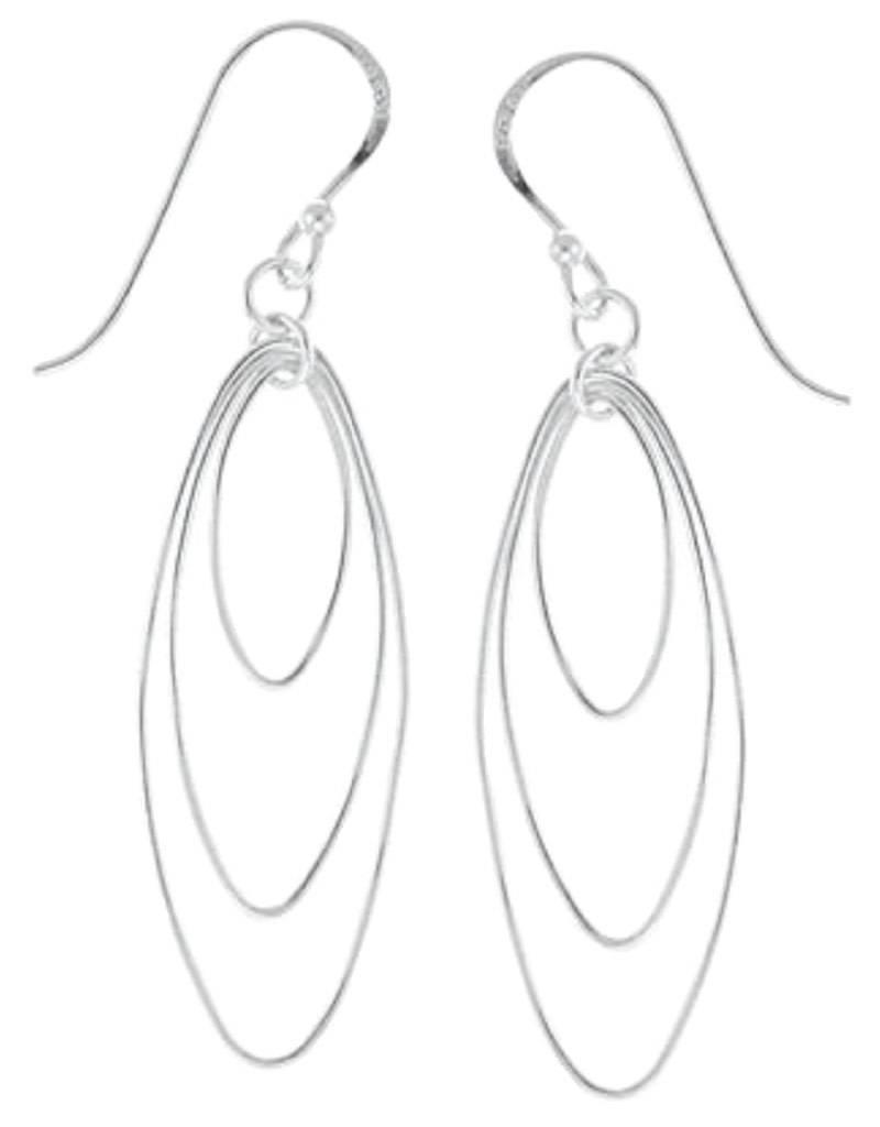Sterling Silver 3 Ovals Earrings 35mm