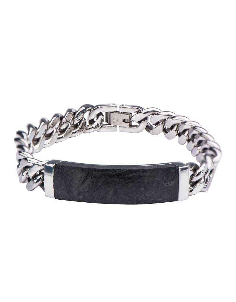 "Graphite & Steel ID Bracelet 8.25"""