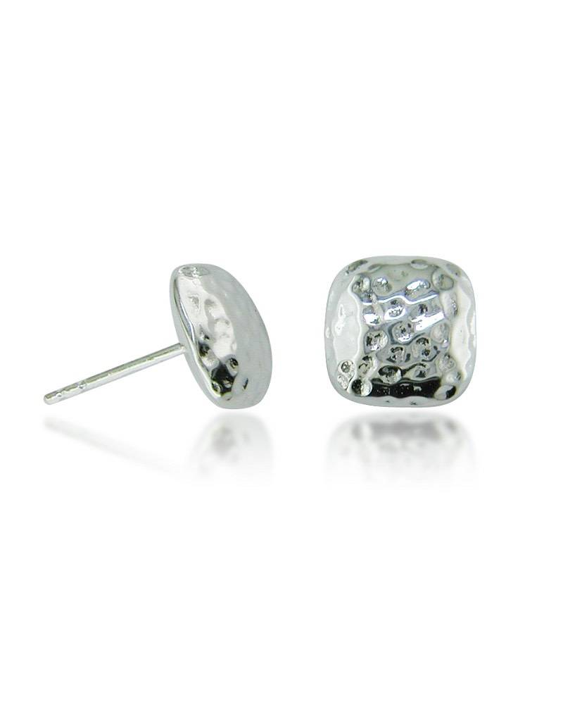 ZINA Square Hammered Earrings 10mm