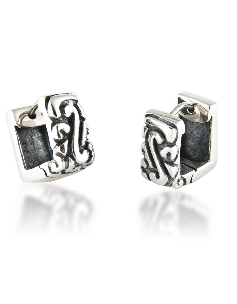 ZINA Square Swirl Huggie Earrings 14mm