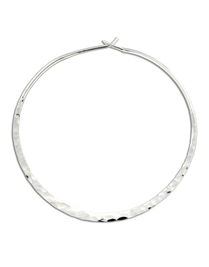 Sterling Silver Round Flat Hammered Hoop Earrings 46mm