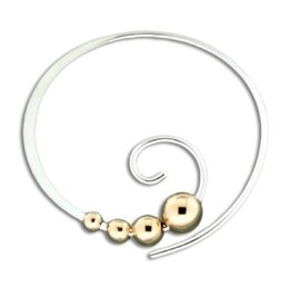 Curl with GF Beads Earrings 22mm