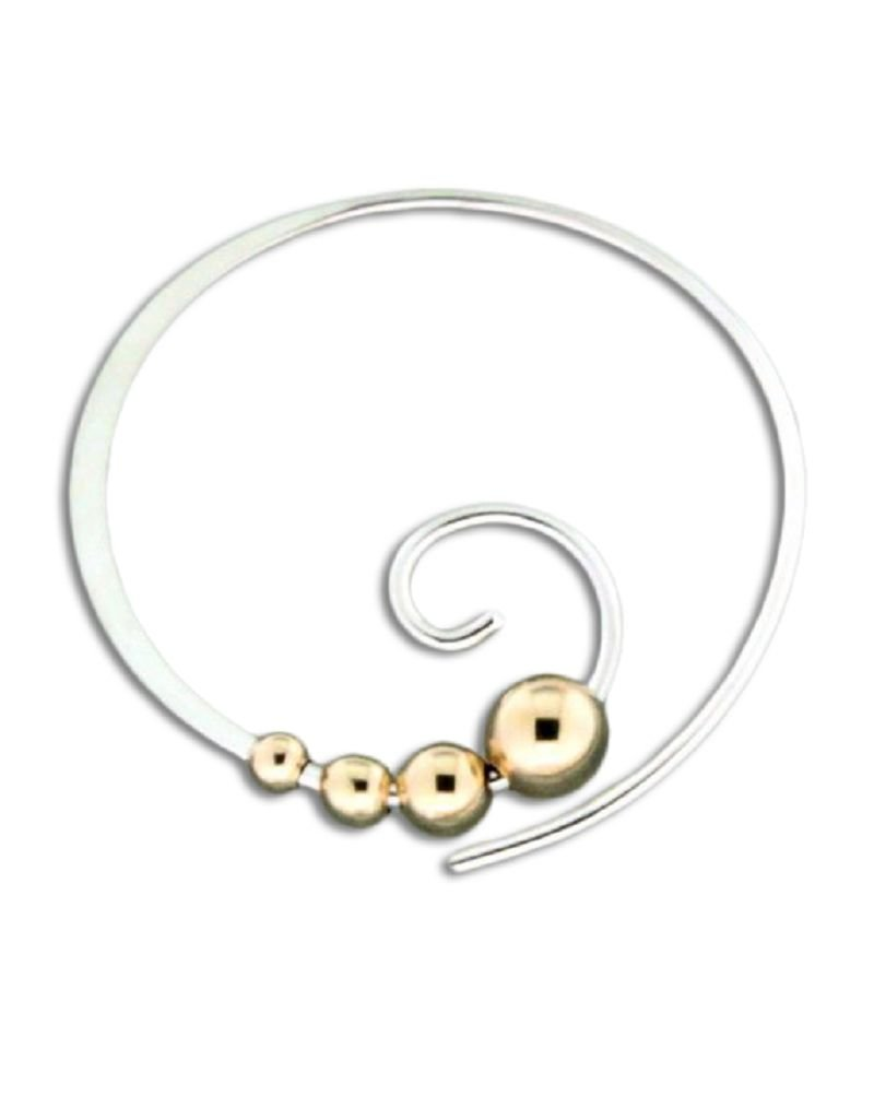 Sterling Silver Curl with 14k Gold Filled Beads Earrings 22mm