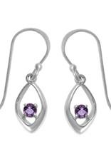 Sterling Silver Amethyst Earrings 11mm