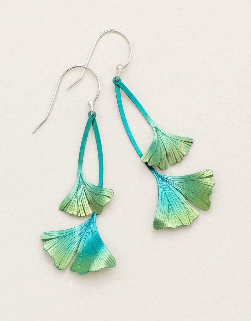HOLLY YASHI Green Ginkgo Drop Earrings *17451