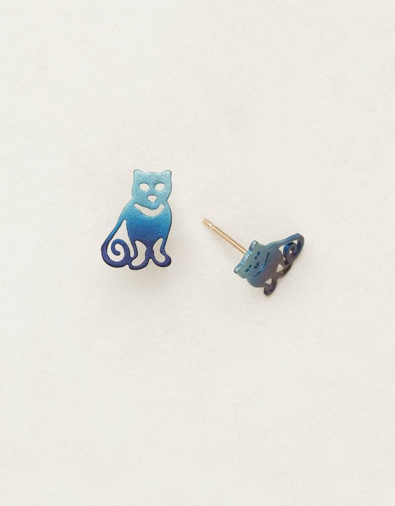 HOLLY YASHI Denim Cat's Meow Post Earrings *90018