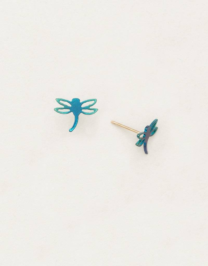 HOLLY YASHI Green Dragonfly Post Earrings *90104