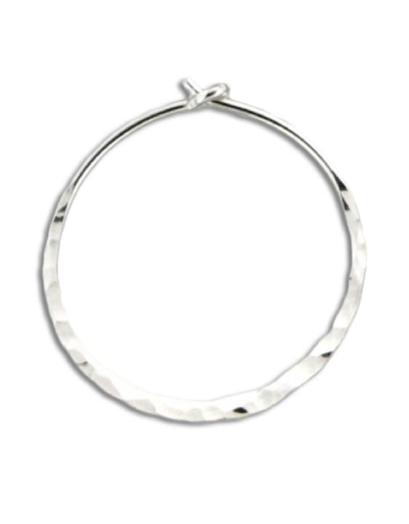 Sterling Silver Round Flat Hammered Hoop Earrings 20mm