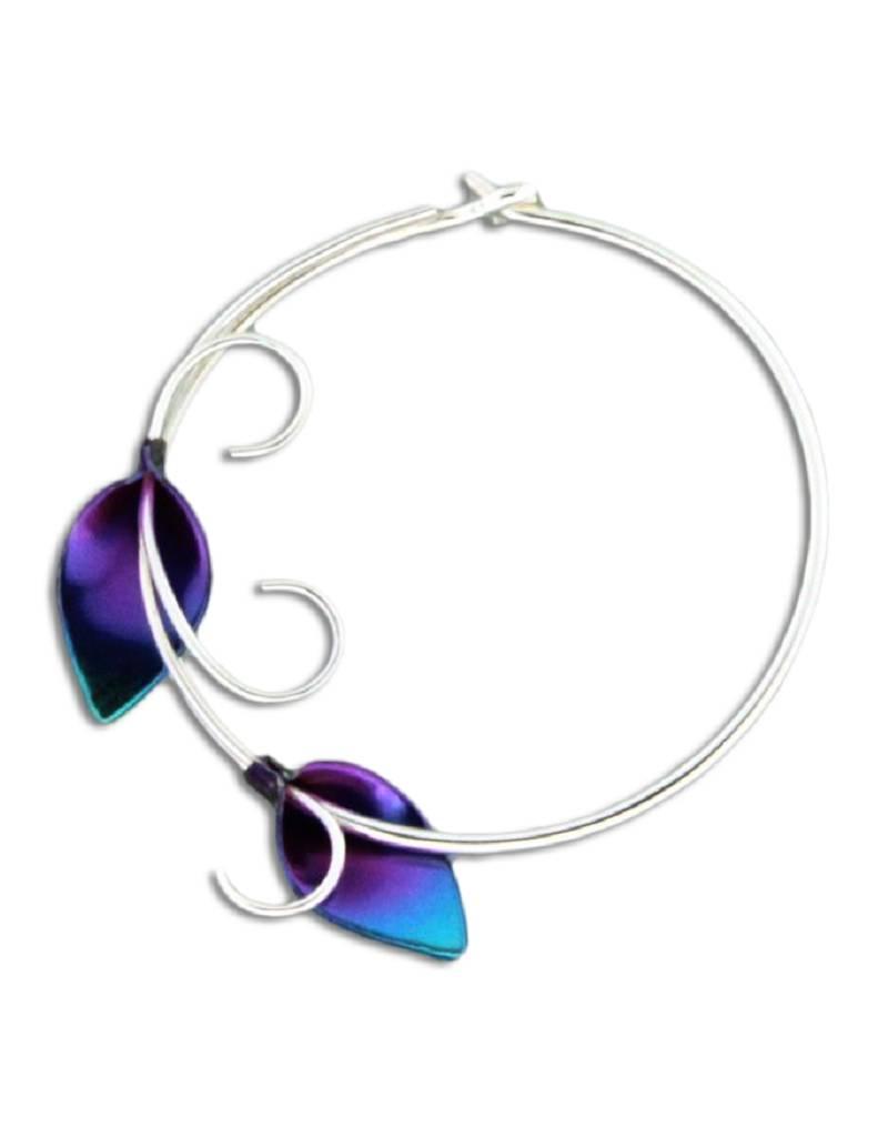 Niobium Lily Vine Hoop Earrings 28mm