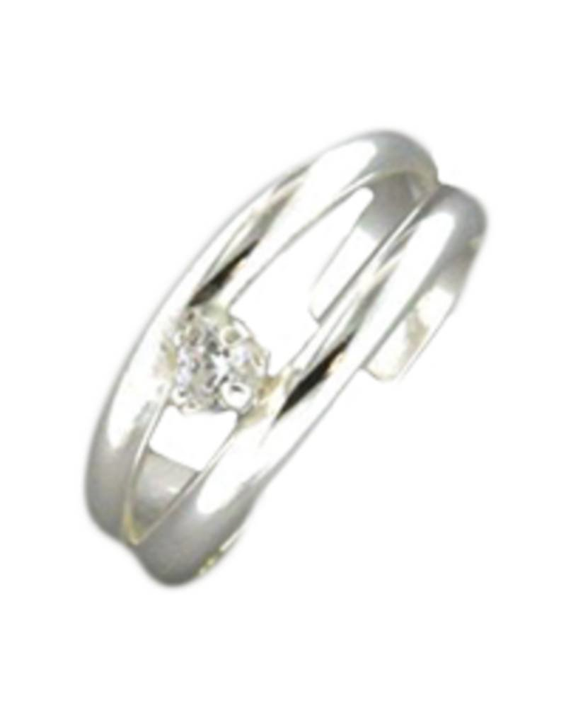 Sterling Silver Double Band Cubic Zirconia Ear Cuff