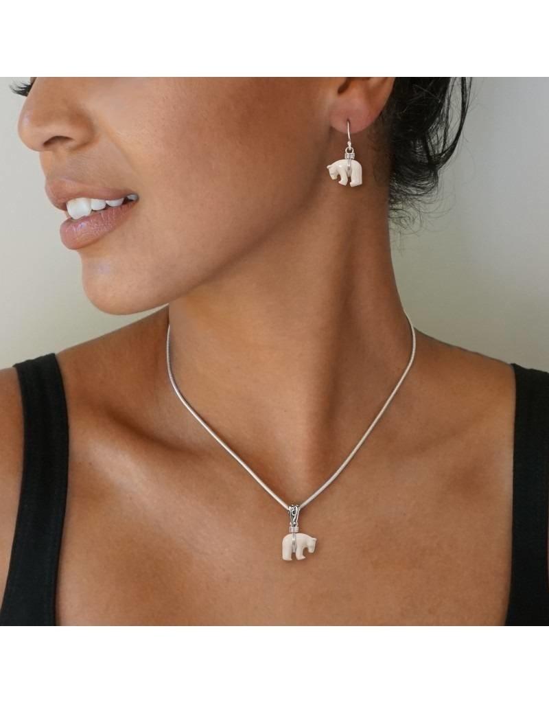 ZEALANDIA Sterling Silver Mammoth Ivory Polar Bear Earrings