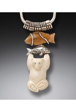 ZEALANDIA Sterling Silver Fossilized Walrus and Mammoth Ivory Polar Bear Pendant - Bear with Fish