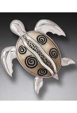 ZEALANDIA Sterling Silver Fossilized Walrus Ivory Sea Turtle Pin or Pendant