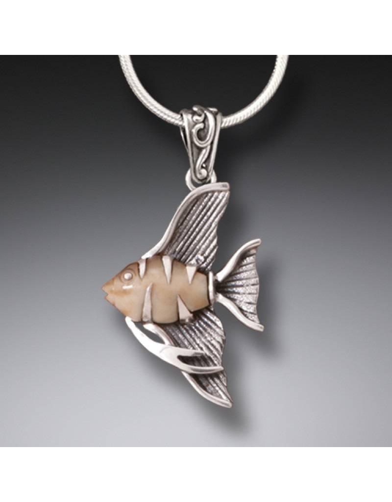 ZEALANDIA Fossilized Walrus Tusk Angelfish Pendant