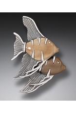 ZEALANDIA Sterling Silver Fossilized Walrus Tusk Angelfish Pin